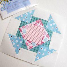 The Splendid Sampler block no. 37 - Dashing for Chocolate.  A lovely patchwork churn dash block.