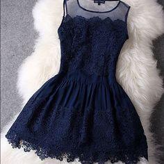 Spotted while shopping on Poshmark: Navy blue lace dress! #poshmark #fashion #shopping #style #Dresses & Skirts