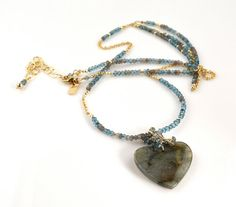 LP 1153 Labradorite Heart Blue Quartz And by laurapaulinedesigns, $310.00
