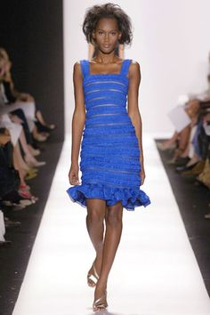 Oscar de la Renta Spring 2007 RTW Royal Blue & Nude Ribbon Strips Cocktail Dress with Ruffled Hem