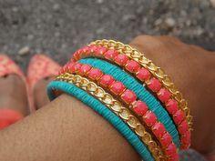 Easy http://whybuyitdiyit.wordpress.com/2013/06/13/diy-coral-chain-bangels/
