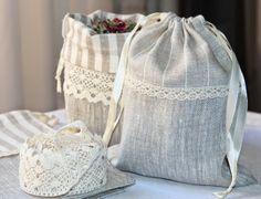 Льняные мешочки - ЛЕТО, linen bags, lace