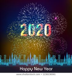 Happy New Year 2020 background with fireworks. Happy New Year Pictures, Happy Images, New Year Images, Happy New Year Greetings, Happy New Year 2020, Merry Christmas And Happy New Year, Good Morning Flowers Pictures, Flower Pictures, Happy New Year Animation