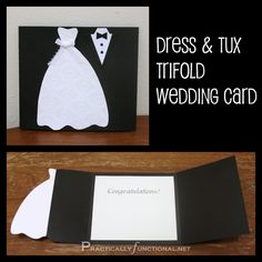 DIY Wedding Card: Dress & Tux Trifold { Printable - Invitatioin Card - Ideas of Invitatioin Card - Going to a wedding? Make a handmade wedding card in just a few minutes; all you need is scissors paper and glue! Wedding Congratulations Card, Wedding Anniversary Cards, Card Wedding, Wedding Vows, Wedding Venues, Happy Anniversary, Rustic Wedding, Wedding Dress, Anniversary Quotes