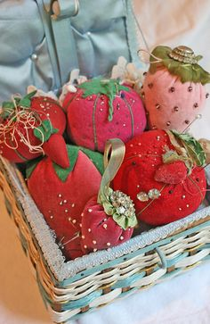 Strawberry pincushions  in a lovely basket