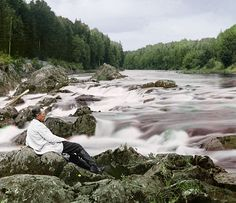 Self-portrait by Prokudin-Gorskii at Kivach waterfall (northern European Russia), 1915. (Sergei Prokudin-Gorskii, Library of Congress archive)