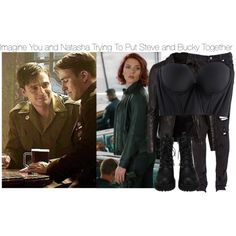 Imagine You and Natasha Trying To Put Steve and Bucky Together by fandomimagineshere on Polyvore featuring polyvore, fashion, style, MuuBaa, Cosabella, Levi's and clothing