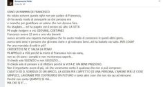 SCRIVOQUANDOVOGLIO: LA MAMMA DI FRANCESCO MENNEAS SCRIVE SU FACEBOOK U...