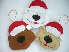 Bear, Felt Christmas Ornament - Set of 3. $17.99, via Etsy.