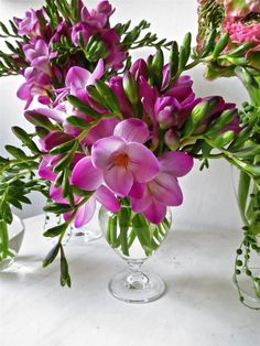 freesia centerpiece