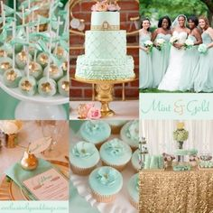 Mint and Gold Wedding Inspiration Wedding 2017, Wedding Themes, Summer Wedding, Our Wedding, Wedding Cakes, Wedding Decorations, Wedding Gold, Table Decorations, Wedding Color Combinations