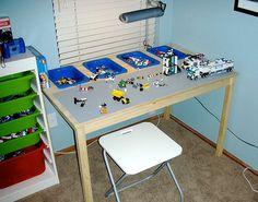 Legobord med oppbevaring i bordplaten