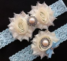 Blue Lace Wedding Garter Set / Something Blue Wedding Garter Set / Bridal Garter Set / Vintage Garter Set on Etsy, $18.50