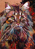 cat quilt fabric art