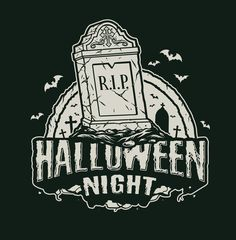 Monochrome Halloween R.I.P. cemetery vector design with a dark background. From 21 Halloween t-shirt designs which can be used to create an awesome Halloween style. Available on www.dgimstudio.com. #vector #halloween #rip #cemetery #halloweencostume #vectorillustration #tshirtdesign