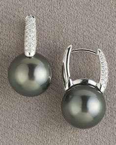 MIKIMOTO  Black South Sea Earrings