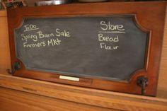 Repurpose cabinet door.  Repurpose message center.  Blog | Portage Trail Barn | Shop Local. Buy Handmade.