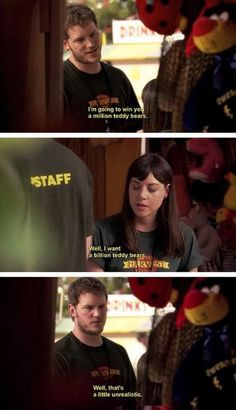 Andy Dwyer and April Ludgate, Parks And Rec | million/billion teddy bears  parks and rec <3