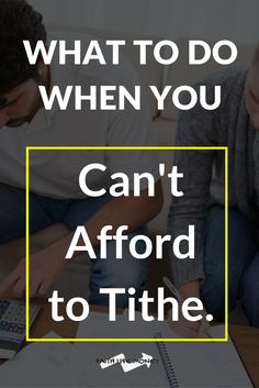 Ever been there? Of course you WANT to tithe, you WANT to give, you WANT to be generous - but right now you just can't afford to. So what should we do? This article is going to give you the insight needed on how to navigate your situation: http://faithlifemoney.org/what-to-do-when-you-cant-afford-to-tithe/