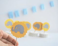 Baby Elephant Mini Cupcake Toppers Grey and yellow by Mariapalito,