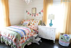 The Adventure Begins, Summer 2017: Out Loud Pennant, Plant a Garden Pillowcases, Always Flowers Pillowcases, Happy Life Throw Pillowcase, Think Good Thoughts Quilt, Rows of Ruffles Bedskirt and Grow Freely Bucket