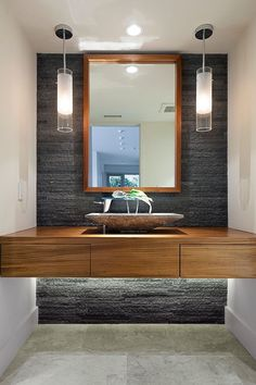 grey + wood, floating vanity + pendant lights