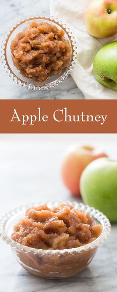 Easy-to-make, delicious apple chutney with chopped apples, onion, vinegar, brown sugar, orange peel, ginger and cinnamon. Great serve with roast chicken or pork! On SimplyRecipes.com
