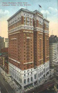 The McAlpin Hotel, New York City, site of the 1914 NPC meeting, the first meeting out of the Chicago area since NPC's founding in 1902. When it opened in 1912, the McAlpin was the largest hotel in the world.