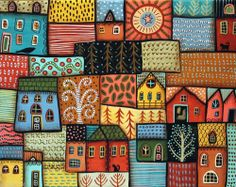 Suburbs 14x11 Bird Cats Houses ORIGINAL Canvas PAINTING FOLK ART ABSTRACT KarlaG.. new painting for sale..