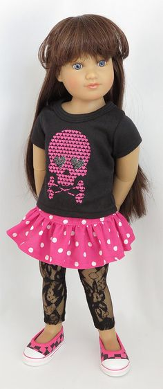 SCARY CUTE SKULL Black T-Shirt with Pink Lacey Hem fit American Girl Halloween