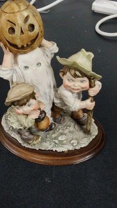 Vintage Italian G Armani Gullivers World Children w/ Pumpkin Figurine Signed  #GArmani