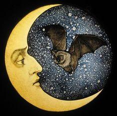 "Custom Made 12"" Bat And Moon"