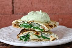 refried bean, cheese, and spinach quesadillas with avocado cream # ...