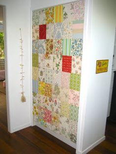 patchwork wallpaper - like this idea for girls but with different style of wallpaper.