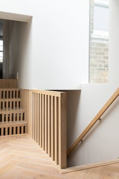 staircase nordic interior design #interiordesign #interior #design #nordic #scandinavian #staircase Wooden Staircase Railing, New Staircase, Stair Handrail, Staircase Design, Staircase Remodel, Bespoke Staircases, London Property, Kitchens And Bedrooms, Birch Ply