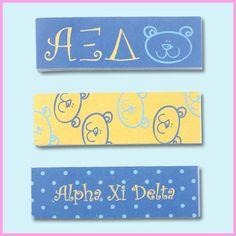 Alpha Xi Delta Sorority Sticky Tabs $2.95 #Greek #Sorority #Accessories #StudyAides #DeskAccessories #CollegeEssentials #AlphaXiDelta #AZD #AXiD #Mascot #Bear