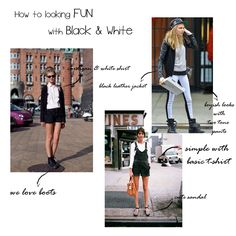How to looking fun with black and white ! Leather Jacket, Black And White, T Shirt, Fun, Shopping, Studded Leather Jacket, Black White, Leather Jackets, Blanco Y Negro