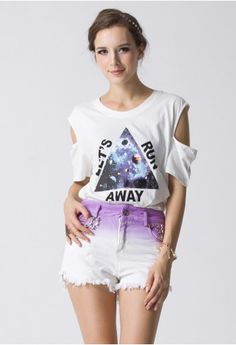 #Chicwish Triangle Print Cut Out T-shirt in White