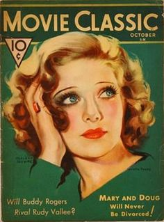 Portrait of actor Loretta Young on the October cover of Movie Classic magazine, United States, 1931, by Marland Stone.