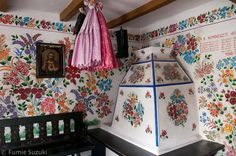 Folk art | Viski Károly Múzeum painted walls, Kalocsa, Hungary | Fumie Suzuki Photography Painted Walls, Harvest Time, Hungary, Valance Curtains, Folk Art, Farmhouse, Interior, Pattern, Crafts