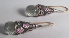 Earrings with Green Amethyst pink sapphires on 18k wire by Melinda Risk