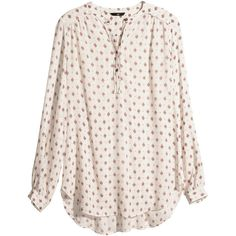 H&M Patterned blouse (265 MXN) ❤ liked on Polyvore featuring tops, blouses, shirts, h&m, long sleeves, light beige, beige shirt, rayon blouse, print shirts and beige long sleeve shirt