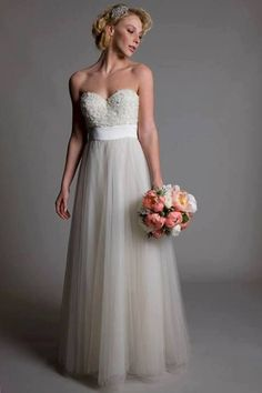 Ella said this one was perfect for you:-) Sweetheart floral bodice tulle floor length wedding by Sunnabridal, $268.00