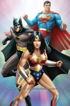 Wonder Woman, Batman and Superman by Robert-Shane on DeviantArt Real Superman, Superman Man Of Steel, Batman Vs Superman, Batman Art, Dc Comics Superheroes, Batman Comics, Trinidad, Comic Book Costumes, Dc Trinity