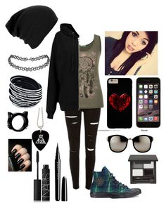 """""""Ridley"""" by chloe-beth-13 ❤ liked on Polyvore featuring maurices, BLK DNM, Converse, Linda Farrow, Marc Jacobs and NARS Cosmetics"""