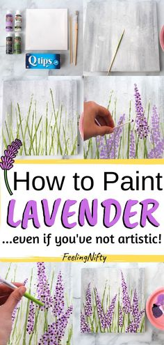 Want to learn how to paint lavender- the easy way? Learn how to paint lavender in acrylics with an easy, step by step painting tutorial for beginners. Paint your lavender on canvas, art journal or paper. Easy Canvas Art, Simple Canvas Paintings, Easy Canvas Painting, Art Paintings, How To Paint Canvas, Painting Art, Easy Acrylic Paintings, Easy Art, Painted Canvas