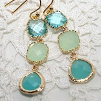 Aqua Mint Green glass Jewel Triple Drop Chandelier dangle Earrings, Mint Aquamarine Pale Apple Green and Gold bezel set Earrings