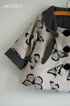 Toddler Girls Winter Swing Coat in Silver Grey Black and White with Butterflies Print - Sizes 2T on Etsy, $50.00