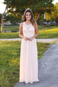 BRIDESMAID ALERT!! This NEW Blush Maxi Dress with Pleated Lace Top is sooooo pretty! The pleated top is amazing not to mention the cute lace back.Fits like a dream! - 100% Polyester Approx. Length (sh