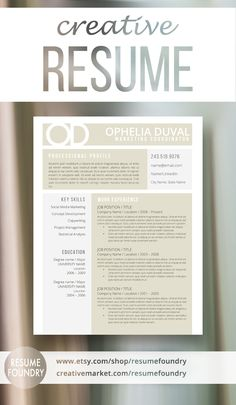 Creative resume template from Resume Foundry. Stand out from the crowd with a stylish modern design.